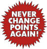 Image of a Never change points logo